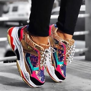 Iconic Cape Robbin Pink Gold Sequin Sneakers